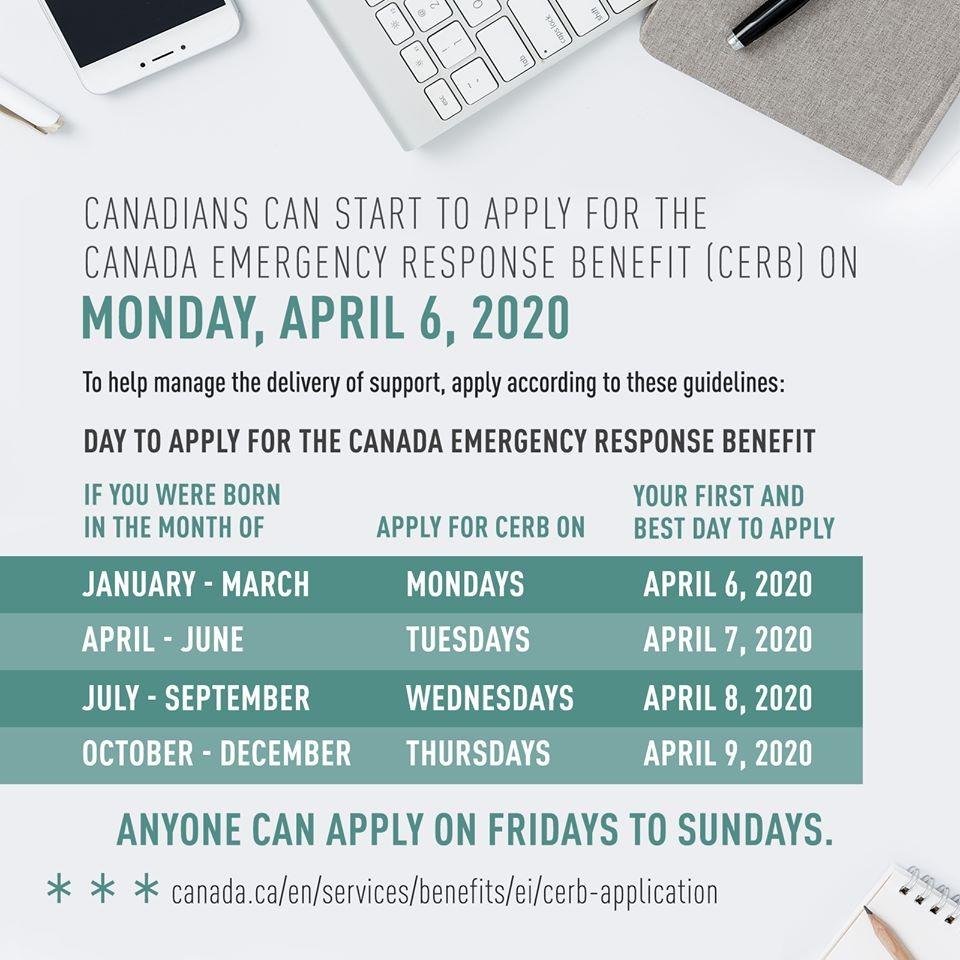CERB Application Dates - Canada Emergency Response Benefit